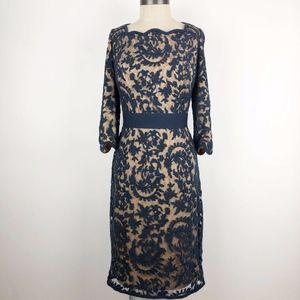 Tadashi Shoji Navy Beige Lace Overlay Sheath Dress